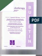 Psychotherapy Bulletin 29 (2) Summer 1994