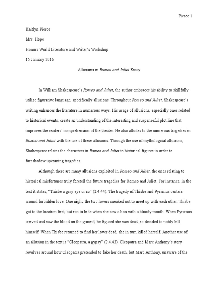 Allusions Essay Helen Of Troy Romeo And Juliet