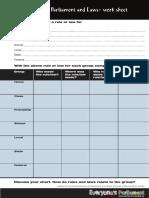LearningAboutParliamentLaws Worksheet