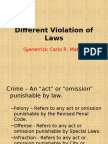 Different Violations of Law