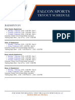 NIST Falcon Sports - Session 3 Tryout Schedule