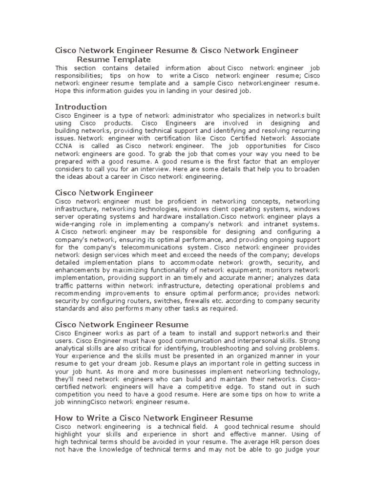 Cisco Network Engineer Resume | Résumé | Cisco Systems