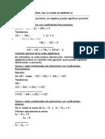 Caracter General de La Suma Algebraica