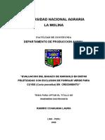 Evaluacion Del Bagazo de Marigold en Dietas Peletizadas Con Exclusion de Forraje Verde Para Cuyes (Cavia Porcellus) en Crecimiento