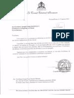 Lettre de démission du conseiller Vijonet Déméro