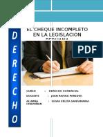 La Regulación Del Cheque Incompleto en La Legislacion Peruana