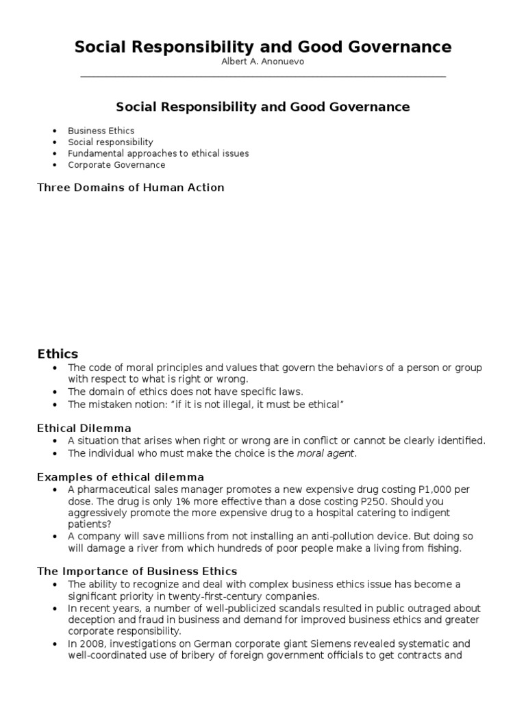 Social Responsibility And Good Governance Stakeholder Corporate