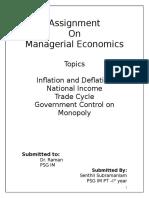 Managerial Economics - Assignment