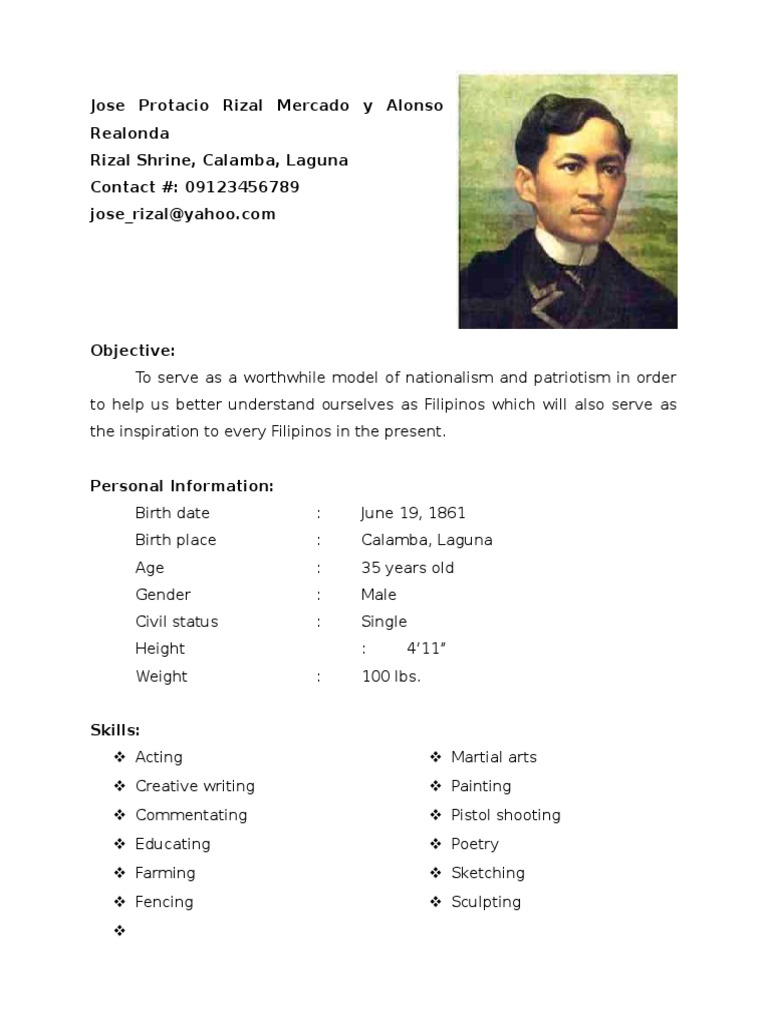 rizal resume Jindřich tomas: jose rizal, ferdinand blumentritt and the philippines in the new age the city of litomerice: czech /resume/ lea-katharina steller.