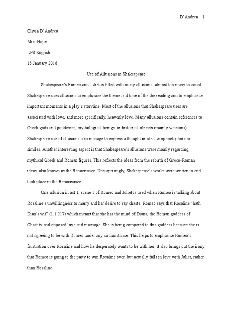 Allusions Essay Cupid Romeo And Juliet