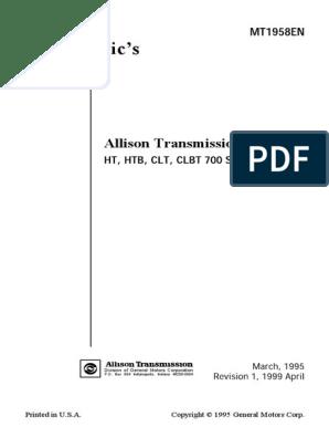 Allison Transmission 700 Series | Transmission (Mechanics