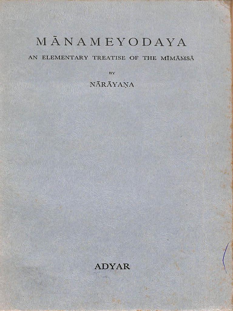 Manameyodaya An Elementary Treatise of Mimansa of Narayana