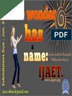 ijaet Submissions Open. IJAET CFP