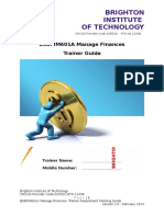 BSBFIM601A Manage Finances Trainer Assessment Guide