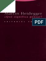 Heidegger Que Significa Pensar