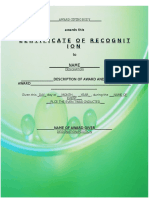 Certificate of Recognition Sample