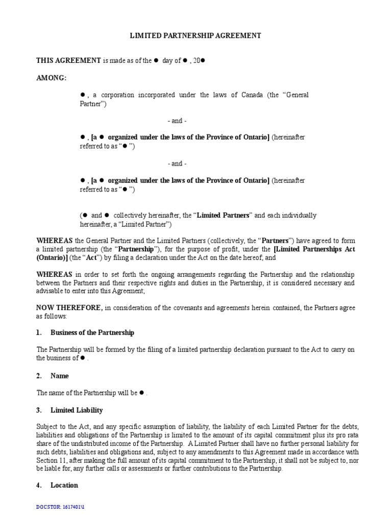 Limited Partnership Agreement Template Short Form1 General