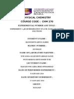 Physical Chemistry Sem 2 exp 1