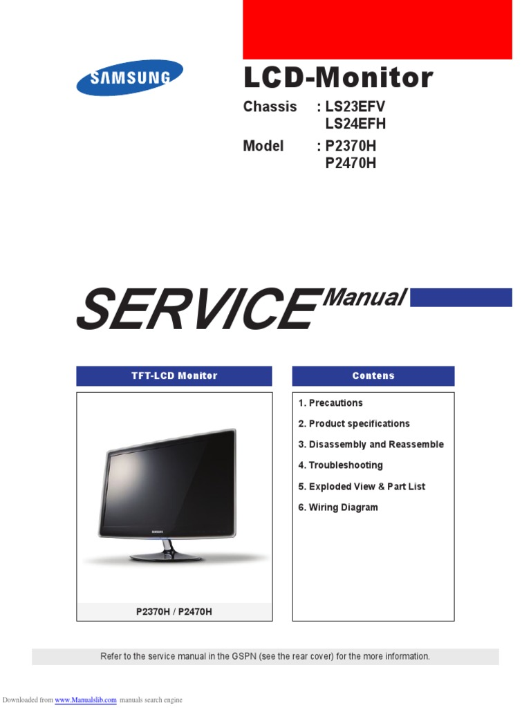 Samsung p2370h Service Manual | Electrostatic Discharge | Electrical  Connector