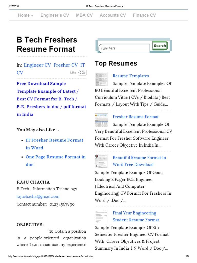resume Resume B Tech b tech freshers resume format java server faces