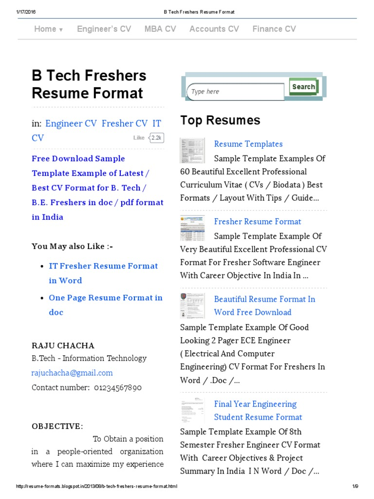 B Tech Freshers Resume Format Resume Java Server Faces