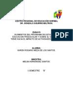 ENSAYO ELEMENTOS DEL PROGRAMA DE ESTUDIOS DE EDUCACIÓN PREESCOLAR Y SOBRE EL VALOR QUE TIENE HACIA EL IMPACTO DE ACTIVIDADES DIDÁCTICA.