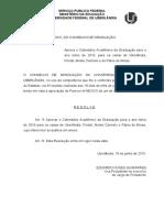 Calendário Acadêmico - UFU - 2016