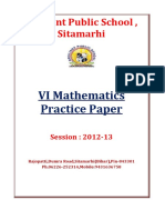 VI Mathematics C.B.S.E. Practice Paper