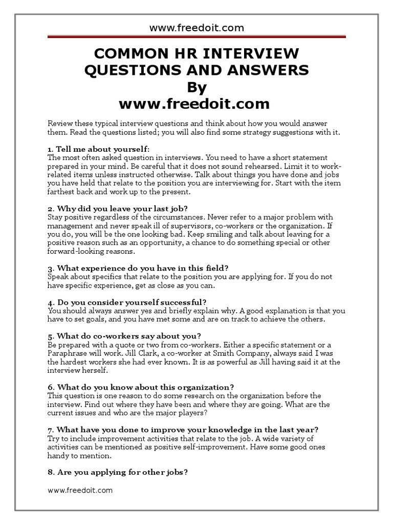 Wonderful Common Hr Interview Questions And Answers | Interview | Leadership