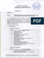 CHED Memo Order 2015-38 Designated COEs and CODs in Various Disciplines