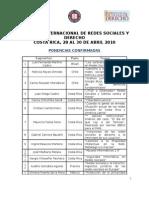 Ponencias Confirm Ad As Simposio Internacional de Redes Sociales y Derecho 28-30 Abril