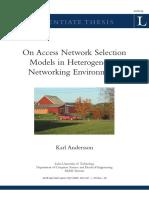 On Access Netowrk Selection Models in Heterogeneous Networki