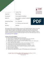 Academic Tutor Music Program Job Description 9.15.14