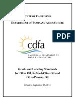 Grade and Labeling Standards for Olive Oil, Refined-Olive Oil and Olive-Pomace Oil, California Standards Sept26 2014