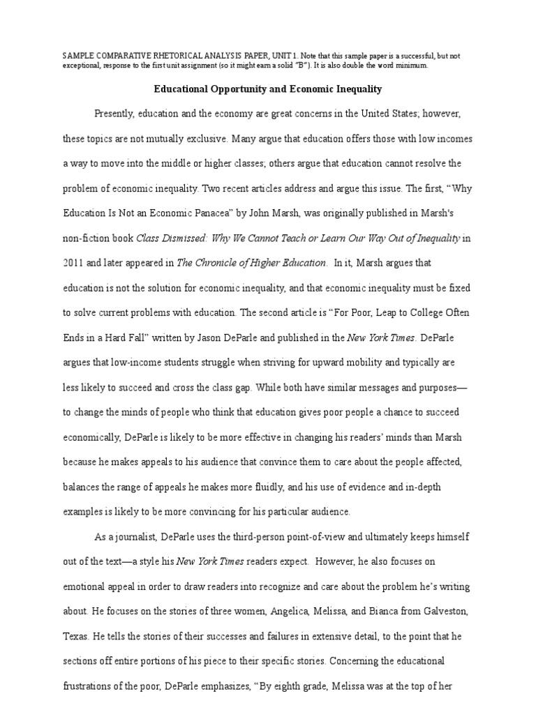 Sample comparative rhetorical analysis essay how to write a slug line