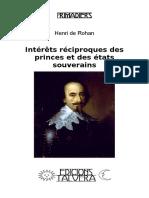 Henri de ROHAN. Intérêts réciproques des princes et des états souverains