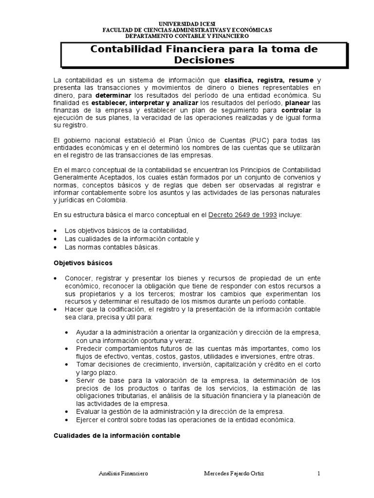 UN1) Contabilidad Financiera Para La Toma de Decisiones, NIIF