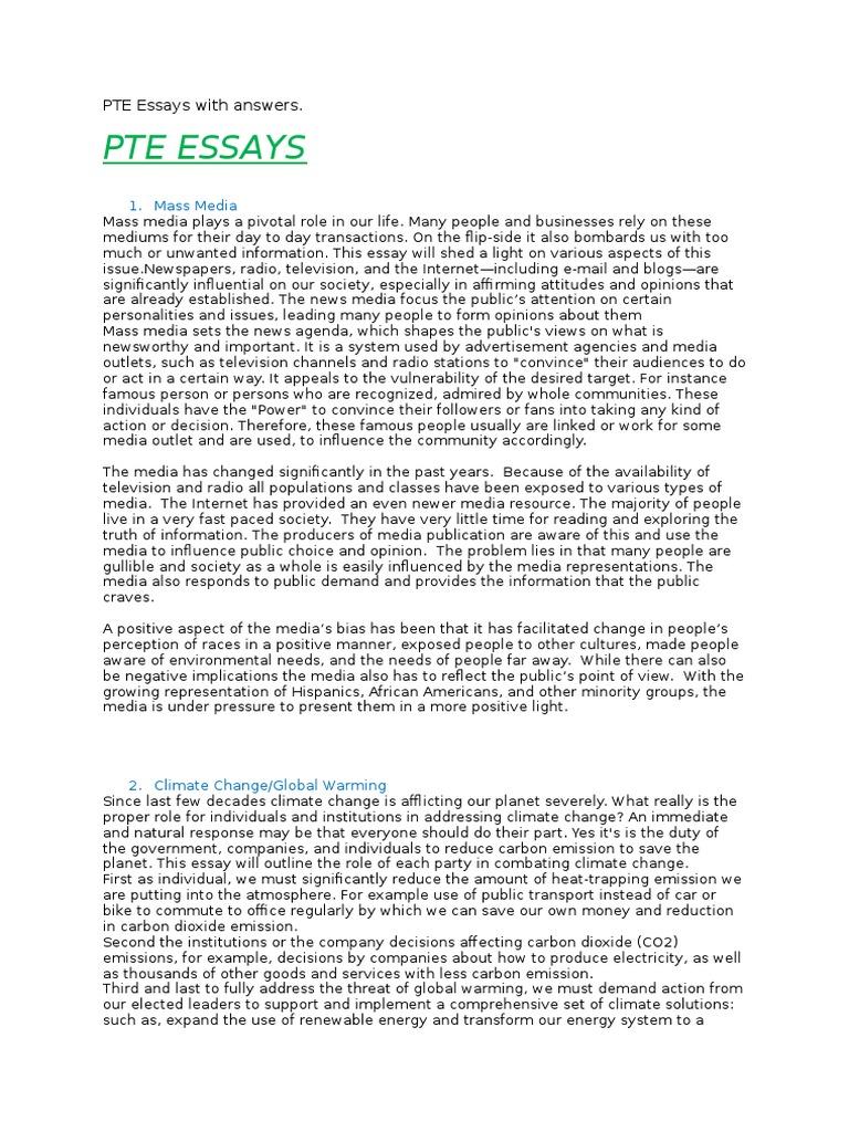 pte essays answers tourism mass media