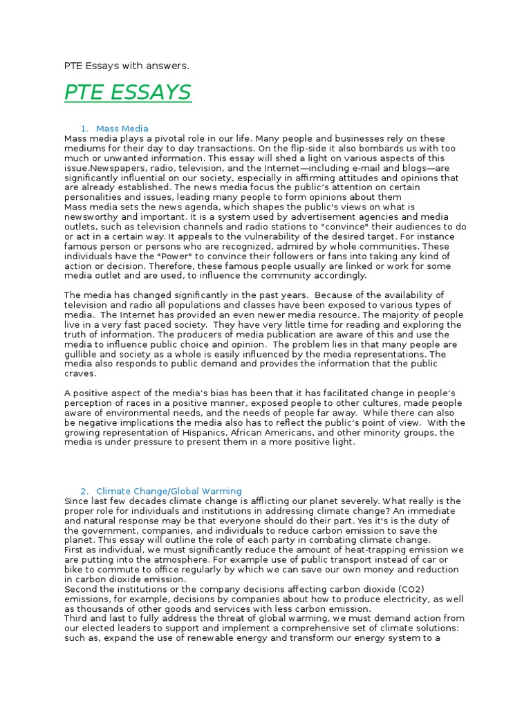 Pte essays with answers tourism mass media fandeluxe Gallery