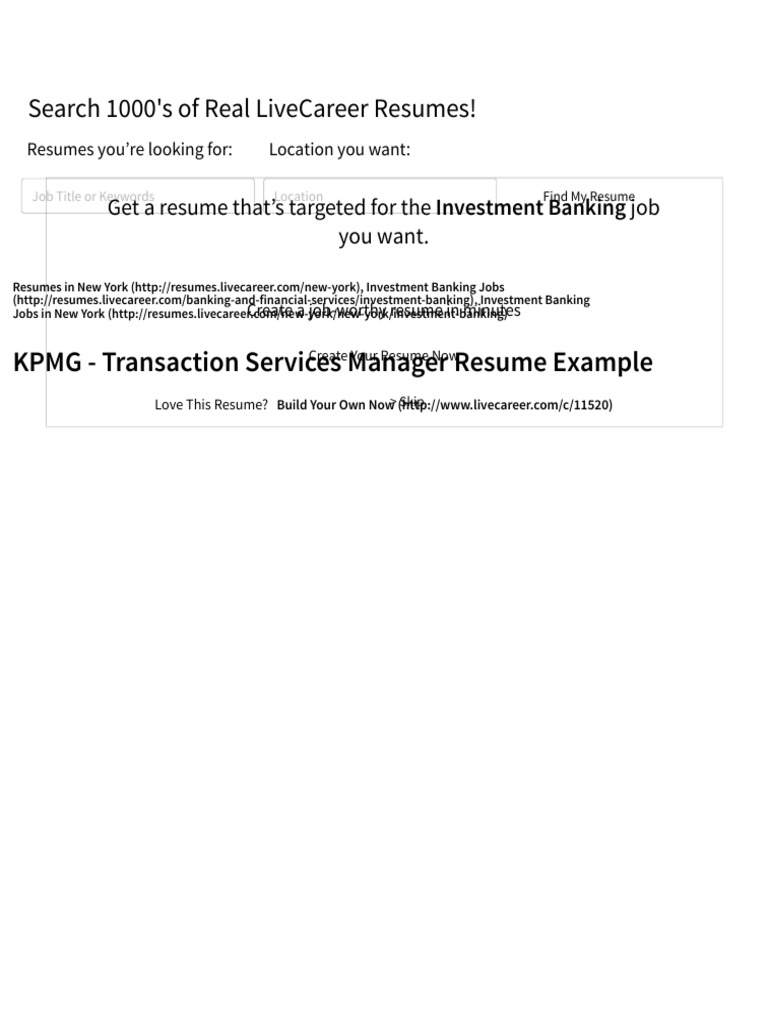 Transaction Services Manager Resume Example (KPMG )   New York, New York |  Financial Statement | Generally Accepted Accounting Principles (United  States)  Live Career.com