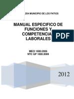 Manual de Funciones Alcaldia de Los Patios Julio 2012 Aprobado