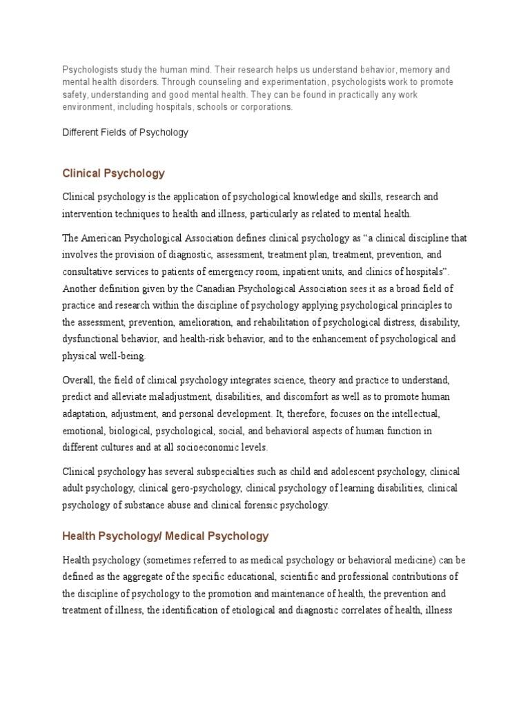 fields of psychology | health psychology | psychology & cognitive