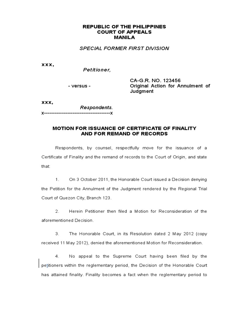 Motion for Certificate of Finality | Remand (Court ...