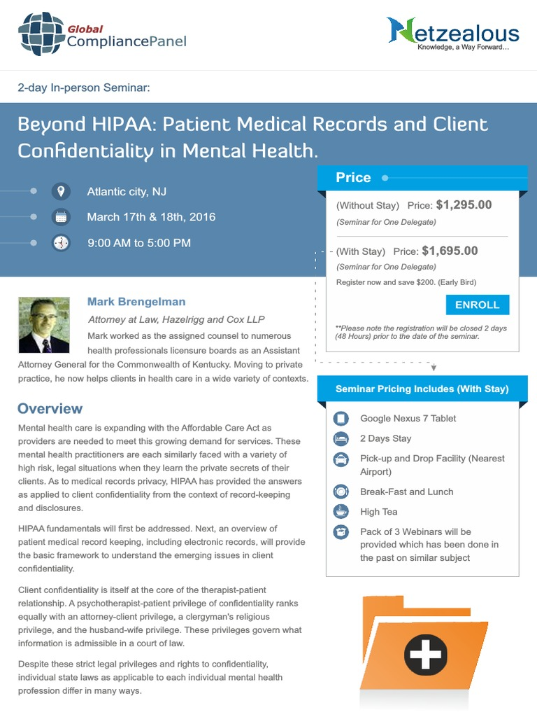 Beyond Hipaa Patient Medical Records And Client Confidentiality In