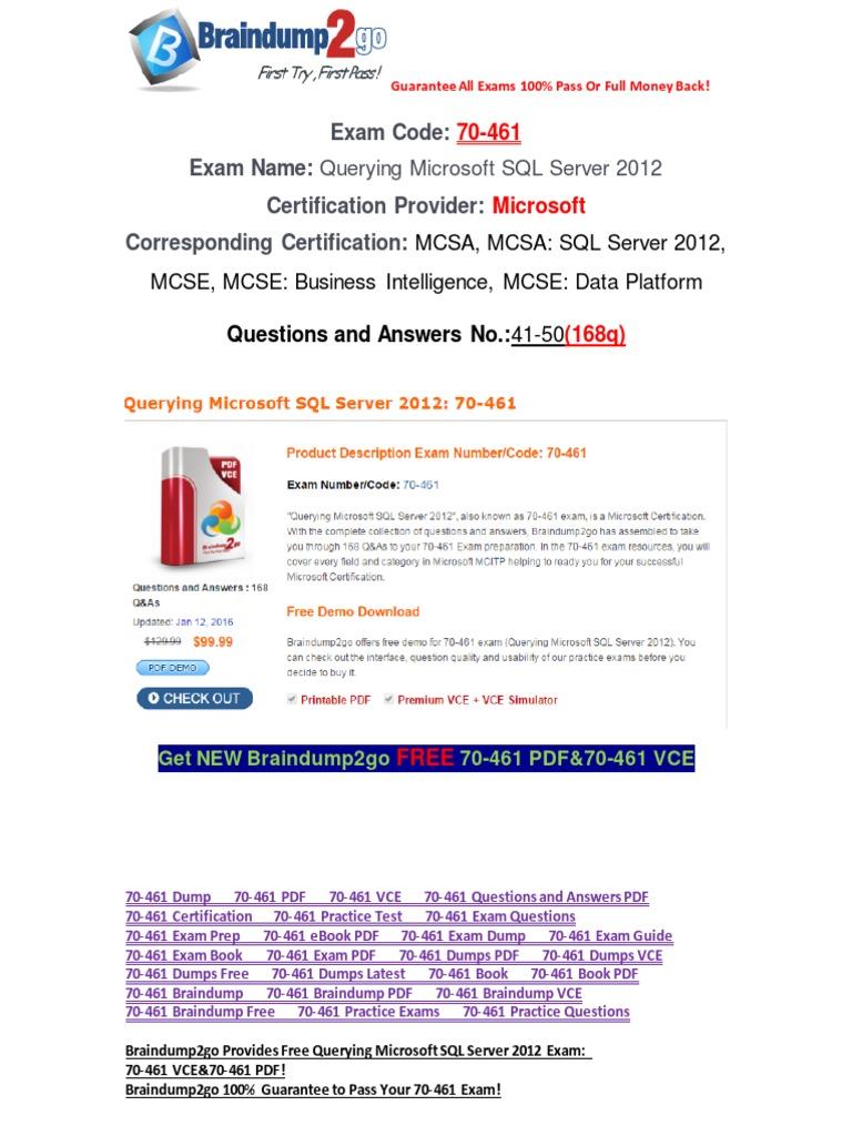 Pdfvcebraindump2go 70 461 Practice Test Free 41 50 Microsoft Sql