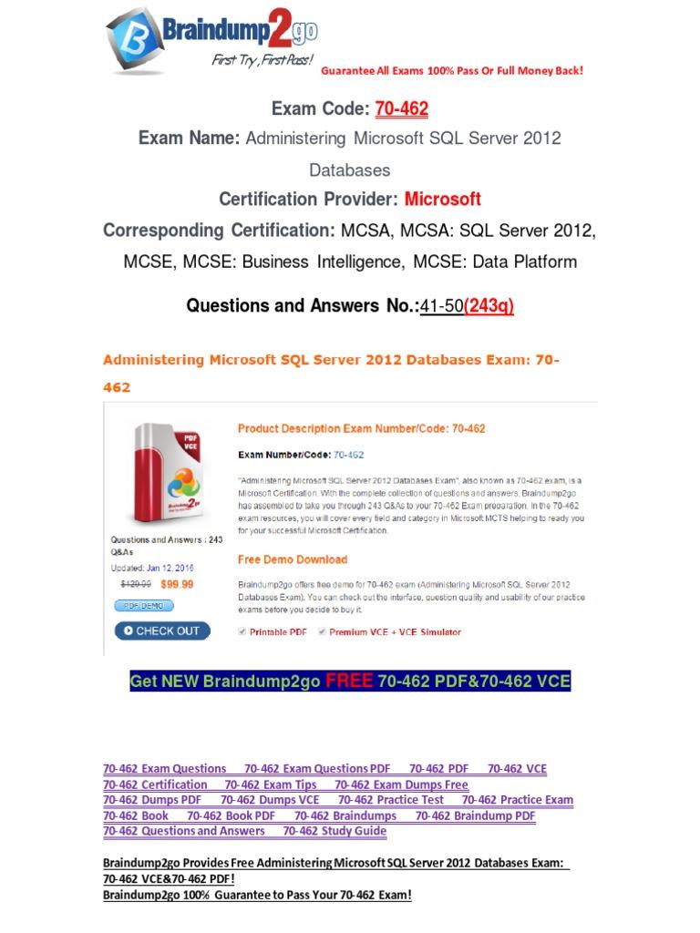 100 passbraindump2go free 70 462 dumps pdf 41 50 microsoft sql 100 passbraindump2go free 70 462 dumps pdf 41 50 microsoft sql server databases xflitez Choice Image