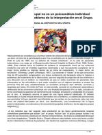 """Sánchez-Escárcega, """"El Psicoanálisis Grupal No Es Un Psicoanálisis Individual 'en Público'. El Problema de La Interpretación en El Grupo"""""""