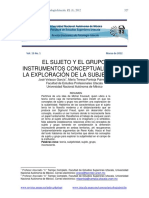 """Velasco y Pantoja, """"El Sujeto y El Grupo. Instrumentos Conceptuales de La Exploración de La Subjetividad"""""""