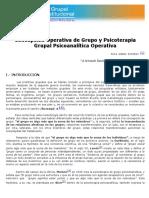"""Gómez Esteban, """"Concepción Operativa de Grupo y Psicoterapia Grupal Psicoanalítica Operativa"""""""