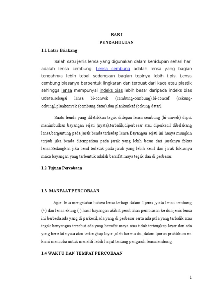 Contoh Laporan Praktikum Lensa Cembung Dan Lensa Cekung ...